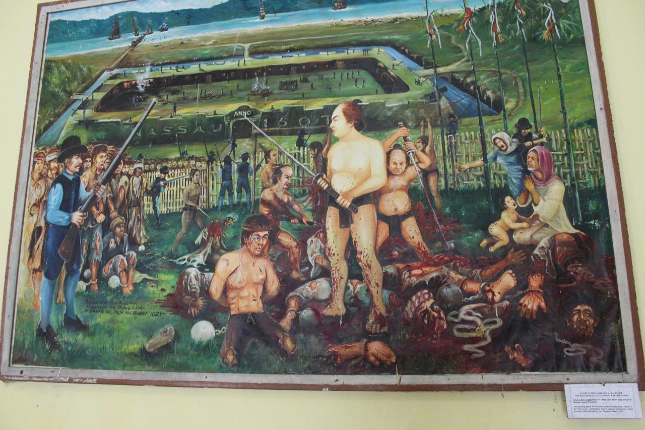 Lukisan yang menggambarkan kekejian algojo Jepang yang memenggal orang-orang kaya dan terpandang di Banda Neira