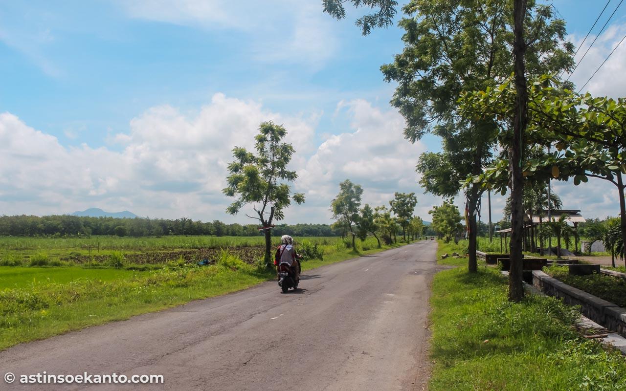 Jalan beraspal di depan Desa Tuyuhan Rembang